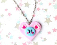 Clannad Blue Dango Necklace Pink Heart Pendant, Kawaii Polymer Clay Jewelry, Anime Jewelry, Dango Daikazoku, Rhinestone Heart, Anime Pendant