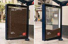 The Outdoor Advert titled McDonald's: Free coffee bus shelter was done by Cossette Vancouver advertising agency for product: Mcdonald's Coffee (brand: McDonald's) in Canada. Creative Advertising, Bus Stop Advertising, Guerrilla Advertising, Coffee Advertising, Advertising Design, Marketing And Advertising, Advertising Ideas, Marketing Tools, Street Marketing