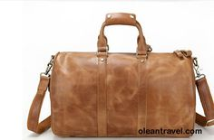 Large tan brown genuine leather weekender duffel bag gym bag or travel bag for men - http://oleantravel.com/large-tan-brown-genuine-leather-weekender-duffel-bag-gym-bag-or-travel-bag-for-men