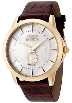 Invicta 0398 Watches, Men's Invicta II White Mother Of Pearl Dial Brown Leather - watch for Caleb