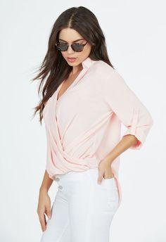 Wrap Front Woven Top Kleidung in Blush - günstig kaufen bei JustFab