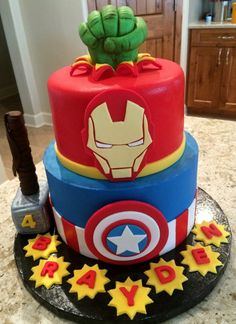 Avengers Birthday Cakes, Hulk Birthday, Superhero Birthday Party, Boy Birthday Parties, Cake Birthday, 5th Birthday, Birthday Wishes, Birthday Ideas, Happy Birthday