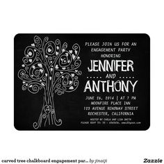 carved tree chalkboard engagement party invitation