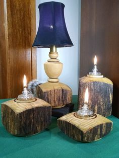 Turned Poplar Table L& w/ Matching Oil Candles by TimberTonesWoodWorks & The first Incandescent Light Bulb was invented by Thomas Edison in ...