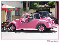 pink, cute beach car