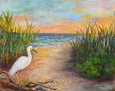 "Sunset Seascape Beach Wildlife Bird Oil Painting ""Seaside Dining"" © Florida Impressionism Artist Annie St Martin08x10-$60.00"