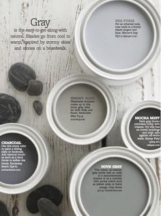 Color Personality: Stony Grays dove grey or smokey haze for upstairs Interior Paint Colors, Paint Colors For Home, Paint Colours, Dinning Room Paint Colors, Dutch Boy Paint Colors, House Color Schemes Interior, Guest Bedroom Colors, Modern Paint Colors, Bedroom Ideas