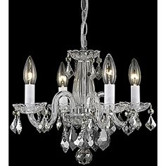 Put this is Ashley's room- looks amazing. Not too big or small. Illuminate your home with this unique 4-light chandelier. This lighting fixture features a crystal design and a chrome finish in an eye-catching arrangement.