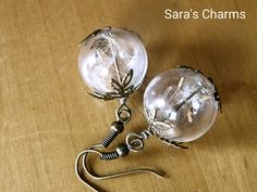 Ohrringe Pusteblume in Glaskugel Bronze von Sara´s Charms auf DaWanda.com