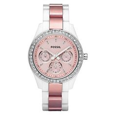 Fossil Women's Stella' Multifunction Pink Glitz Watch for $78.99 from Overstock.com. I really need to get me a watch. This one looks good. I'll take it!
