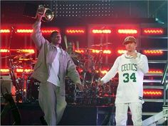 Paul Pierce & Donnie Wahlberg.  I was in the front row for this mess.