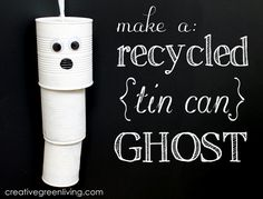 Tutorial: How to make a ghost windchime out of recycled cans - cute!