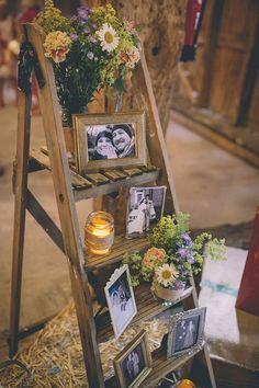 woodland themed wedding photo display ideas