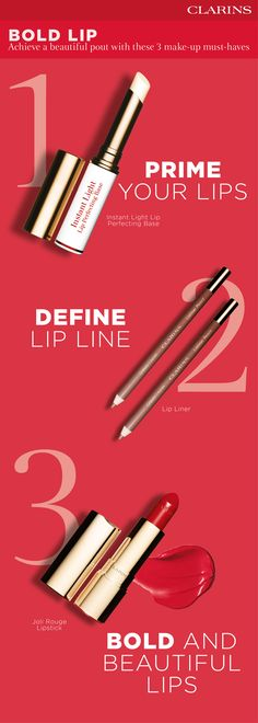 Master the bold lip with these 3 make-up heroes. Discover more on how to create your perfect look on Clarins.com