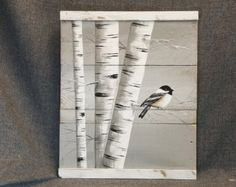 White Birch Painting, Reclaimed wood wall Art, Hand painted White Birch, Distressed, wall decor, chickadee Bird, Rustic & Shabby Chic