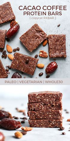 Paleo Cacao Coffee Protein Bars made with dates, nuts, egg white protein, cacao powder, and espresso or instant coffee. Simple and quick, perfect for the morning or even a midday snack. | fit mitten kitchen #whole30recipes #proteinbars #vegetarian #snackbars
