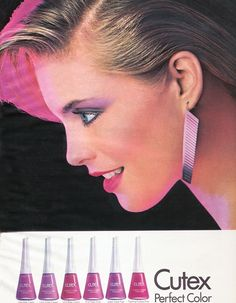 Cutex nail polish ad - is the model Helen Slater from Supergirl? 1980s Makeup, Vintage Makeup Ads, Vintage Nails, Retro Makeup, Vintage Beauty, Vintage Jewelry, 1980s Nails, Kim Alexis, Nostalgia