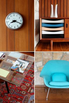 The Design Files (Tim Ross lounge room) Mid Century House, Mid Century Style, Vintage Furniture, Cool Furniture, Turquoise Chair, Neutral Carpet, Teak Sideboard, The Design Files, Carpet Styles