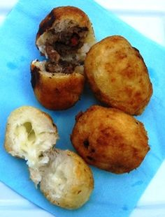 Meat and Cheese Stuffed Yuca (Carimañolas de Carne y de Queso)-make sure to over boil the yuca to ensure softness, its not like a potato. maybe use a food processor, too