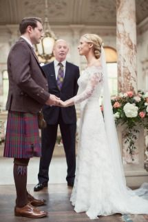 A man in a kilt AND a gorgeous gown! Lucky woman.