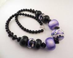 Polymer Clay Necklace  Pretty in Purple by OrbObsession on Etsy