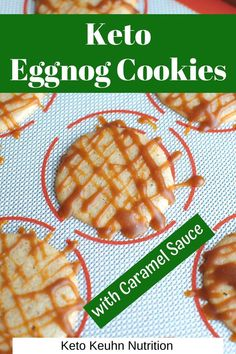 Christmas is for eggnog cookies! This easy keto eggnog cookie recipe creates a soft treat. To make these even better, top them with homemade low carb caramel sauce! #christmas #holiday #keto #cookie