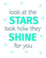 Quotes Printable Wall Art | These Bare Walls | Look At The Stars Look How They Shine For You | Look at the Stars Print | Stars Print |
