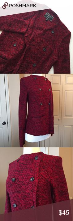 Lucky Brand Button Down Sweater Cozy maroon sweater from Lucky Brand. This can be worn buttoned up for a military chic look or unbuttoned as a regular cardigan! Lucky Brand Sweaters