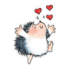 Hedgehog Art, Easy Animal Drawings, Easy Drawings, Doodle Drawings, Cartoon Drawings, Paper Smooches, Happy Paintings, Penny Black, Digi Stamps