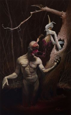 Scott Kirschner's provoking paintings obscure as many as they reveal, blending fantasy and dark surrealism in each scene. His fine art practice is complemented from an illustration career, where he… Dark Art Paintings, Creepy Paintings, Creepy Art, Arte Horror, Horror Art, Wonder Art, Macabre Art, Surrealism Painting, Art Sculpture