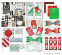 Over 30 free printable Christmas gift tags, labels, bows and wrapping paper.  The Creativity Exchange