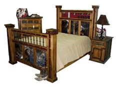 images of rustic cowhide bedroom furniture | Rustic Country Western Bedroom Furniture, Log Cabin Bedroom