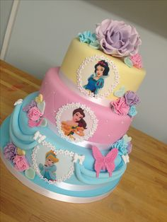 3 tier pastel princess cake with handmade rose