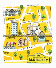Illustration map of Bletchley, part of Milton Keynes, England. Entirely sketched-by-hand it's charming and radiant. Artwork by popular art-creative, Robert Rusin, known to have sold his releases to twenty two countries worldwide since 2008.