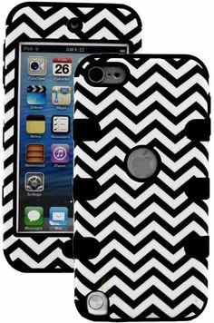 Amazon.com: myLife (TM) Black + Chevron Layered Survivor (3 Piece Slim Infinity) Hybrid Grip Case for Apple iPod 5 (5G) 5th Generation iTouc...