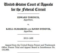 Edward Tobinick V Kjell Olmarker and Bjorn Rydevik 2013 United States Court of Appeals for the Federal Circuit http://www.cafc.uscourts.gov/images/stories/opinions-orders/13-1499.Opinion.5-15-2014.1.PDF    Institute of Neurological Recovery   Edward Tobinick, MD