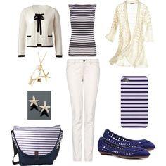 French Chanel Navy and White Breton Stripe inspiration, created by inspirationz on Polyvore