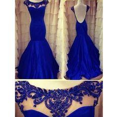 Roayl Blue Cap Sleeve Low Back Mermaid Long Prom Dress, WG570 – LoverBridal