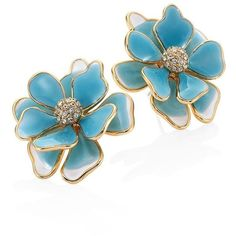 Kenneth Jay Lane Flower Crystal & Enamel Stud Earrings/Blue ($90) ❤ liked on Polyvore featuring jewelry, earrings, turquoise, post earrings, flower earrings, crystal earrings, blue jewelry and post back earrings