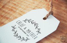 Tampon Mariage vintage couronne d'olivier champêtre
