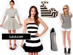 Wear now: Black and White #Stripes my picks from @Lulus.com @lulusdotcom