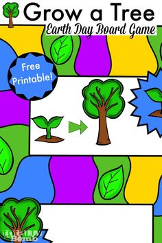 Grow a Tree Earth Day Free Printable Game Board from Totally The Bomb