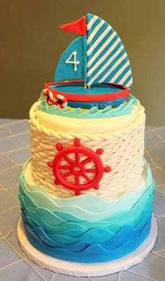 Anchor Ashore: Sawyer is Four! Birthday Party - Just Add Confetti Girls 2nd Birthday Cake, Anchor Birthday Parties, Baby Birthday, Nautical Cake, Nautical Party, Nautical Anchor, Cupcakes, Cupcake Cakes, Party Themes For Boys