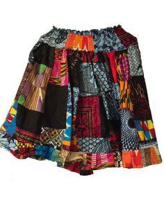 African Patch Short Skirt