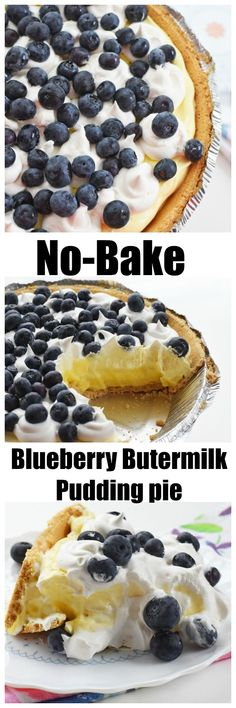 No Bake Blueberry Buttermilk Pie ⋆ Sizzling Eats. A no-bake blueberry pie recipe that is easy to make! This recipe features common ingredients. No Bake Blueberry Pie Recipe, Blueberry Cream Pies, Blueberry Topping, Buttermilk Pie, Homemade Buttermilk, No Bake Desserts, Delicious Desserts, Dessert Recipes, Pie Dessert