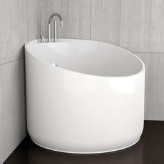 Japanese soaker tubs are like cocoons – cozy, big, angular, can walk around. White bathtub round MINI Flobali Source by Mini Bathtub, Bathtub Shower Combo, Jacuzzi Bathtub, Portable Bathtub, Shower Tiles, Bathtubs, Japanese Soaker Tub, Japanese Soaking Tubs, Small Bathtub