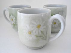 Vintage 3 Pale Green Hand Painted Daisy Mugs by my3luvbugs on Etsy, $16.95