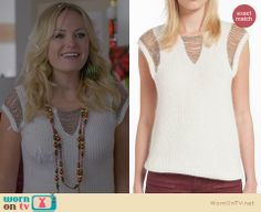 Kate's white chain detail short sleeved sweater on Trophy Wife. Outfit Details: http://wornontv.net/24070 #TrophyWife #fashion