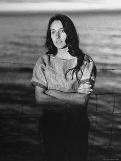 size: Premium Photographic Print: Folk Singer Joan Baez on the Beach Near Her Home by Ralph Crane : Subjects Joan Baez, Civil Rights March, Chris Cornell, Folk Music, Bob Dylan, Life Magazine, See Photo, Black And White, Beach