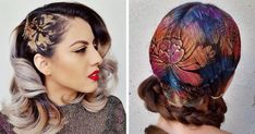 Janine Ker is a hairstylist who uses her artistic background to create gorgeous hair art. Just like a street artist, she paints over stencils with vibrant colors.